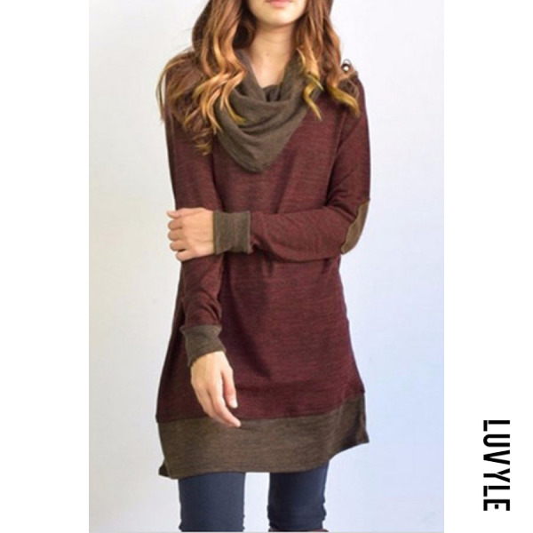 Claret Red Cowl Neck Patchwork Casual Dresses Claret Red Cowl Neck Patchwork Casual Dresses