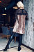 Round Neck  Ruffled Hem  Hollow Out Lace Patchwork Casual Dresses