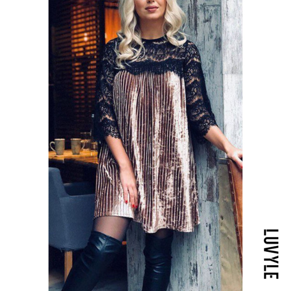 Coffee Round Neck Ruffled Hem Hollow Out Lace Patchwork Casual Dresses Coffee Round Neck Ruffled Hem Hollow Out Lace Patchwork Casual Dresses