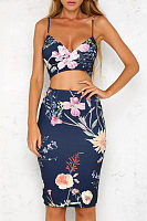 Spaghetti Strap  Cutout  Floral Printed  Sleeveless Bodycon Dresses