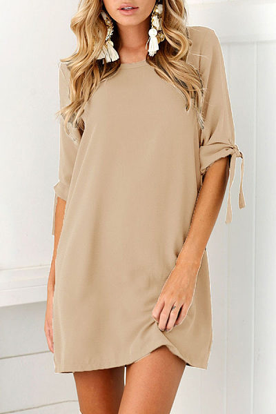 Round Neck  Plain  Half Sleeve Casual Dresses