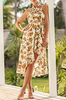 Spaghetti Strap  Asymmetric Hem  Belt  Floral Printed  Sleeveless Maxi Dresses