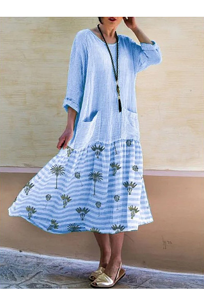 Casual Cotton Printed Pocket Dress