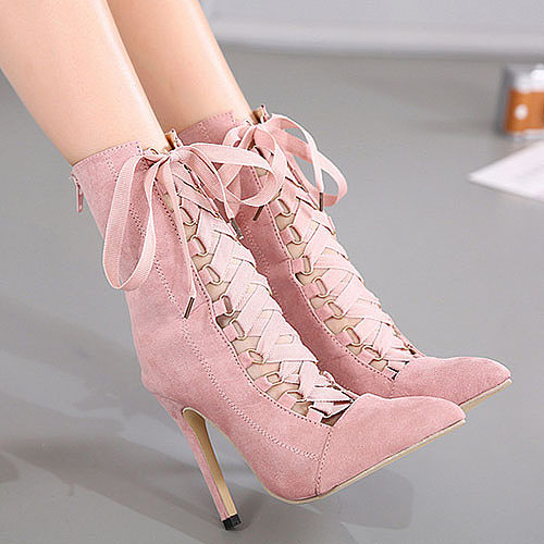 Back Zipper Criss Cross Plain Ankle Boots