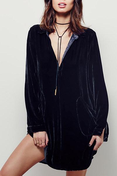 Velvet Slit Pocket Shift Casual Dress