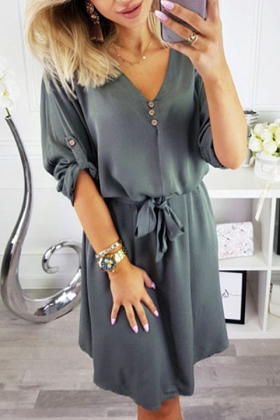 V Neck  Belt  Plain  Long Sleeve Casual Dresses
