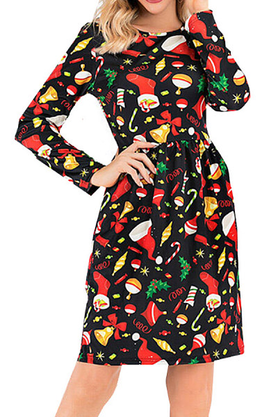 Christmas Printed Long Sleeve Casual Dress