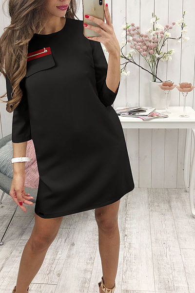 Round Neck  Zipper  Plain  Long Sleeve Casual Dresses