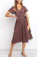 V Neck  Belt  Floral Printed  Short Sleeve Maxi Dresses