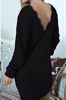 Round Neck  Backless  Plain  Long Sleeve Bodycon Dresses
