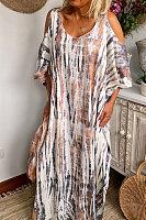 V Neck Strapless Short Sleeve Maxi Dress