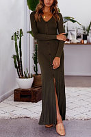 Round Neck  High Slit Single Breasted  Plain  Long Sleeve Maxi Dresses