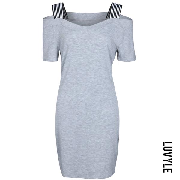 Gray Casual Open Shoulder Striped Bodycon Dress Gray Casual Open Shoulder Striped Bodycon Dress
