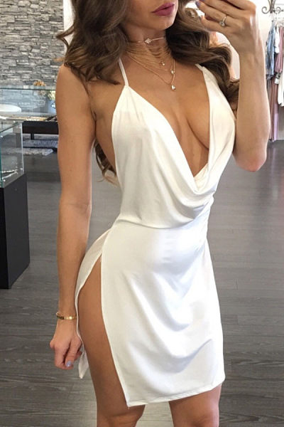 Spaghetti Strap  Backless High Slit  Plain  Sleeveless Bodycon Dresses