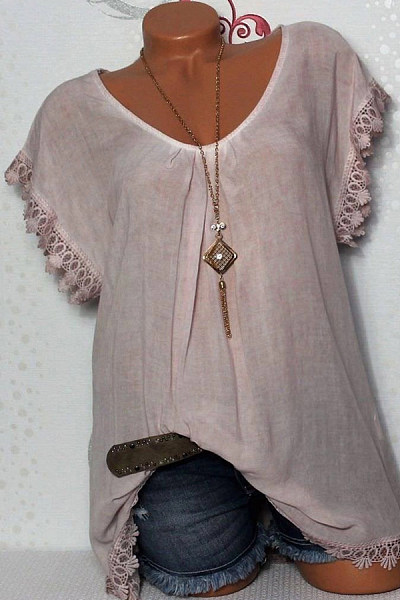 Solid Color Round Neck  Loose Fitting Patchwork  Blouse