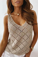 V Neck Hollow Tank Top