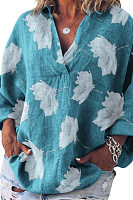 V Neck Loose-Fitting Printed Casual Shirts