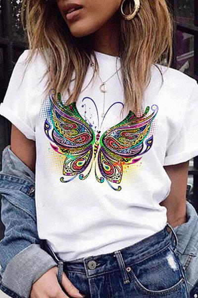 Casual butterfly print short sleeve T-shirt