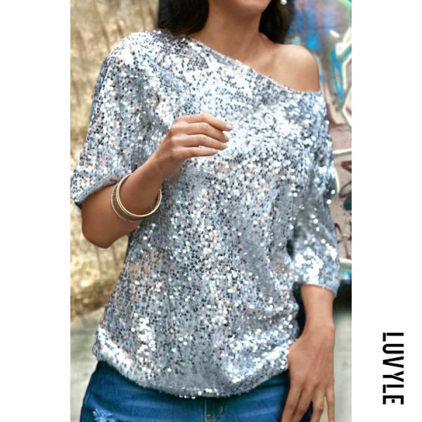 Silver One Shoulder Glitter Plain T-Shirts Silver One Shoulder Glitter Plain T-Shirts