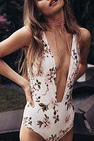 Deep V Neck Backless Floral Printed Bikini