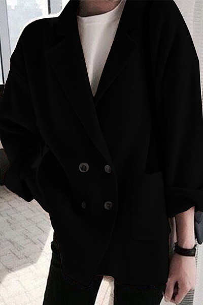 Fold Over Collar  Single Breasted  Plain Outerwear