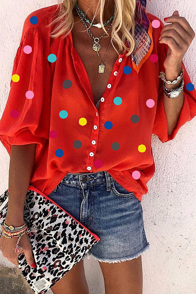 Coloring Polka Dot V Neck Blouse