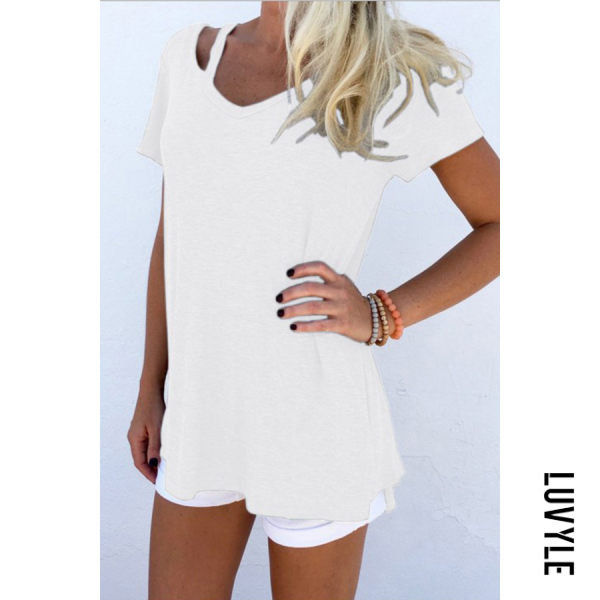 White V Neck Cutout Plain T-Shirt White V Neck Cutout Plain T-Shirt