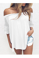 Casual Shoulder Lace Sleeve T-Shirt