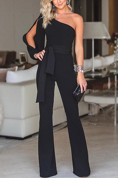 Open Shoulder  Plain Jumpsuits