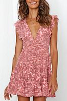 Sexy Sweet V-Neck Printed Dress