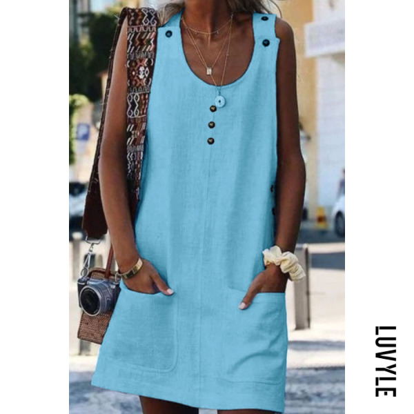 Light Blue Round Neck Plain Sleeveless Casual Dresses Light Blue Round Neck Plain Sleeveless Casual Dresses