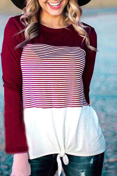 Round Neck  Loose Fitting  Striped T-Shirts