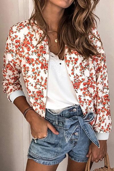 Floral Long Sleeve Zip Jacket