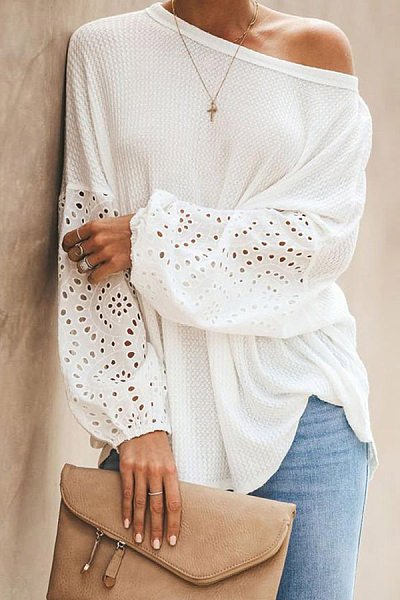 Round  Neck  Patchwork  Elegant  Embroidery  Puff Sleeve  Long Sleeve  Knit Pullover