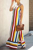 Spaghetti Strap  Color Block Striped  Sleeveless Maxi Dresses