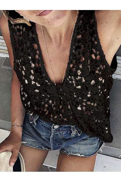 Casual Sexy Deep V Neck Lace Sleeveless T-Shirt