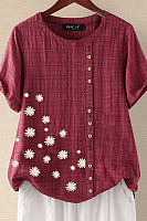 Daisy Printed Round Neck Button Casual Short Sleeve Blouse