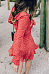 Deep V Neck  Asymmetric Hem  Tiered  Dot Casual Dresses