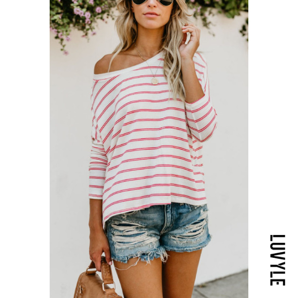 White One Shoulder Striped Batwing Sleeve T-Shirts White One Shoulder Striped Batwing Sleeve T-Shirts
