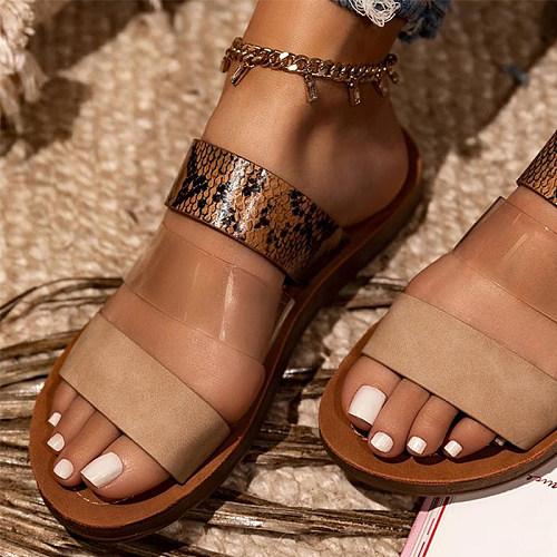 Women's flat bottom fashion slippers nude earth tones