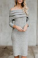 Off Shoulder  Backless Inverted Pleat Slit  Plain  Long Sleeve Bodycon Dresses