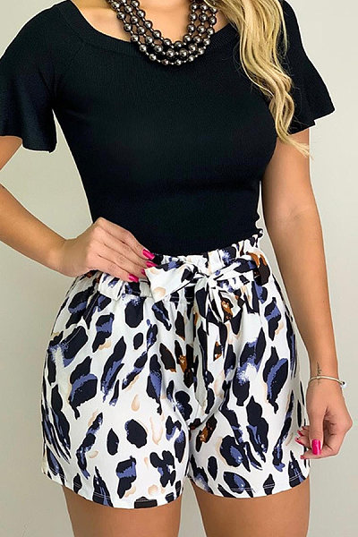 Elastic Waist Belt Printed Casual Shorts Pants