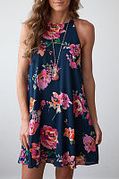 Round Neck  Single Button  Back Hole  Floral Printed  Sleeveless Casual Dresses