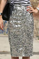 Glitter  Plain  Basic  Skirts