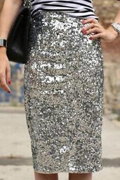 Glitter  Plain  Basic  Skirts