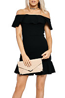 Off Shoulder  Ruffle Trim  Plain  Short Sleeve Bodycon Dresses