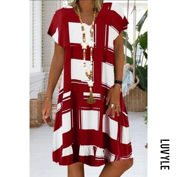 Round Neck Slit Pocket Plain Shift Dress