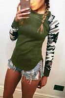 Round Neck  Asymmetric Hem  Camouflage Patchwork T-Shirts