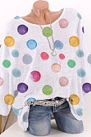 Round Neck Dot Printed Half Sleeve Blouse