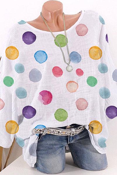 Round Neck Dot Printed Half Sleeve Blouse
